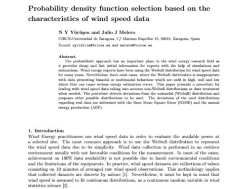 Probability density function selection based on the characteristics of wind speed data