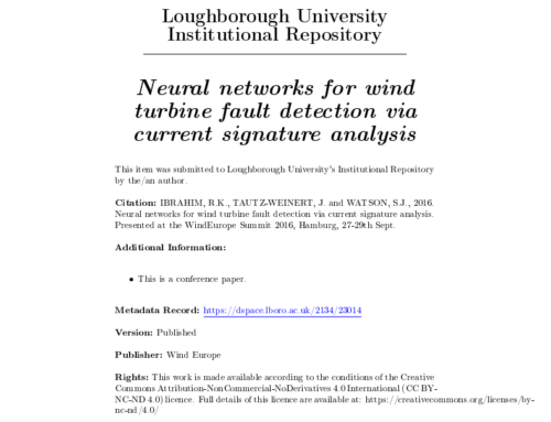 Neural Networks for Wind Turbine Fault Detection via Current Signature Analysis
